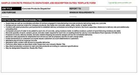 concrete products dispatcher description