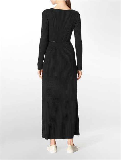 Calvin Maxy lyst calvin klein rib knit belted maxi dress in black