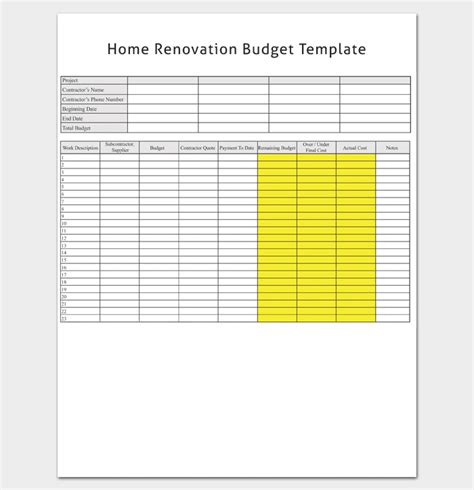 home renovation template renovation budget template 5 planners checklists for
