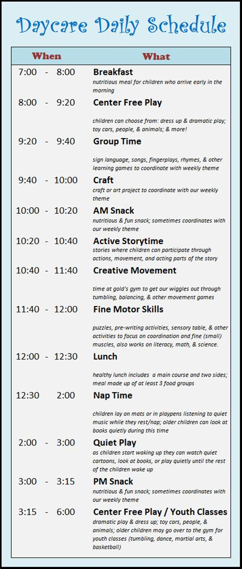 child care daily routine template learning zone daycare schedule