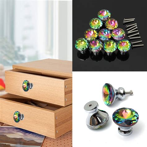 knobs more home decor colorful bauhinia 30mm crystal door drawer pull handle