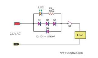 mains voltage indicator with a led electronic projects circuits