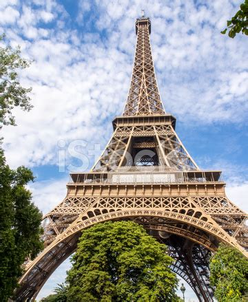 eiffel tower in paris, city landmarks in summer stock