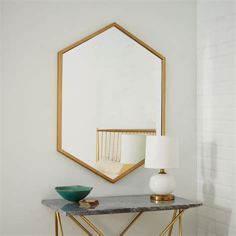 antique brass framed mirror at metal hexagon framed mirror antique brass west elm uk