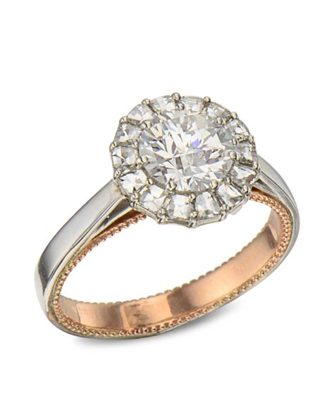 platinum and gold halo engagement ring