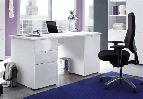 Cellini Large White Gloss Computer Desk Office Workstation Office Desk White