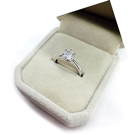 maikun 18k white gold plated classic 6 prong sparkling solitaire cubic zircon engagement ring 8