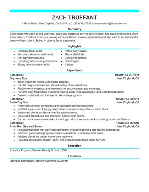 exles of esthetician resumes esthetician resume exle salon spa fitness sle resumes livecareer