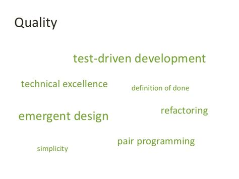 design excellence definition quality technical excellence test driven development