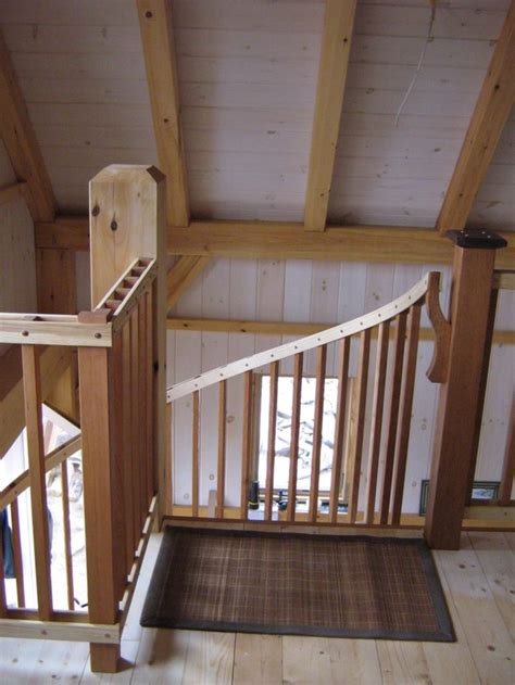 spiral stair  timber frame cabin