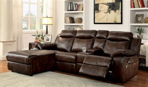 brown reclining sectional sofa hardy cm6781br reclining sectional sofa in brown leatherette