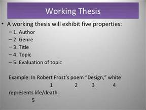 Working Thesis Definition Writing A Thesis Statement