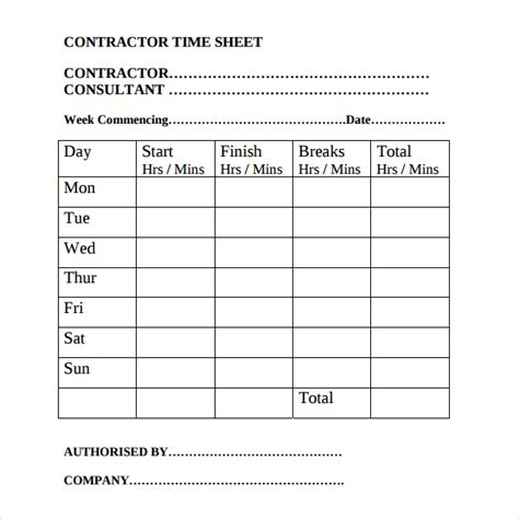 20 Contractor Timesheet Templates Free Sle Exle Format Download Free Premium Templates Timesheet For Contractors Template Free Excel