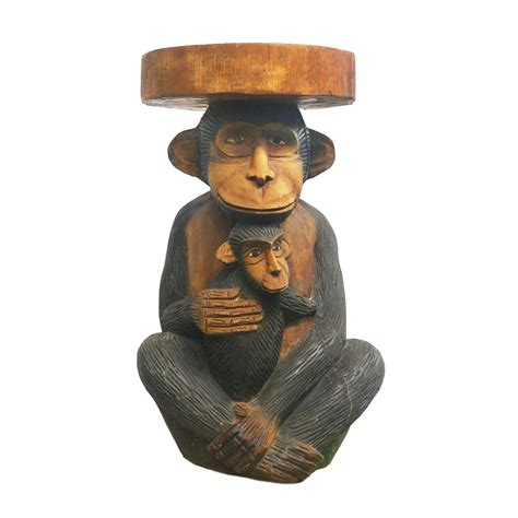 Monkey Stool by Carved Monkey With Baby Stool Taxidermy Mounts For Sale
