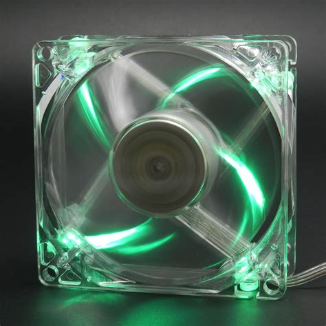 green led computer fan green quad 4 led light neon quite clear 80mm pc computer