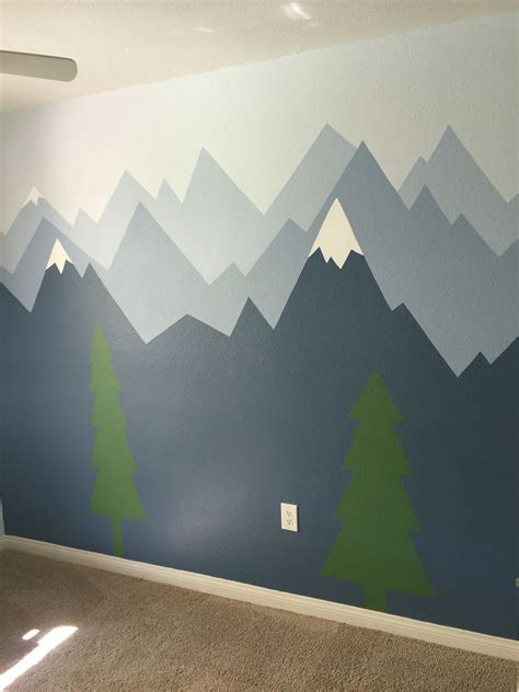 wandbemalung kinderzimmer berge pic only mountain wall mural