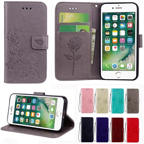 rose embossed magnetic leather wallet flip stand case