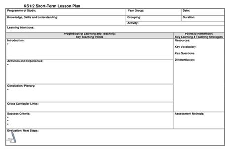 plan template uk ks1 2 lesson plan template by noaddedsugar teaching