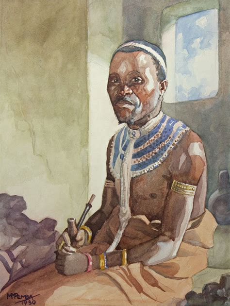 xhosa painting portrait of a in traditional dress george pemba