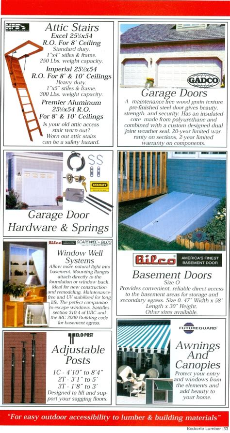 Gadco Garage Door Springs Beckerle Lumber Source Book I Attic Stairs Page 33