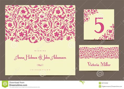 wedding invitation no and guest 2 set backgrounds to celebrate the wedding stock vector