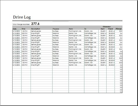 driving log book template ms excel driving log sle template document templates