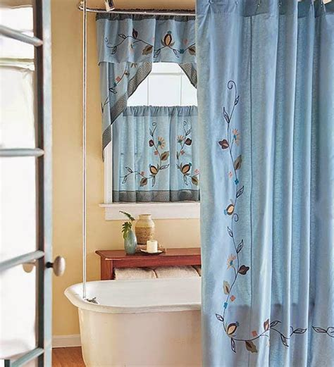bathroom window shower curtain window treatments design