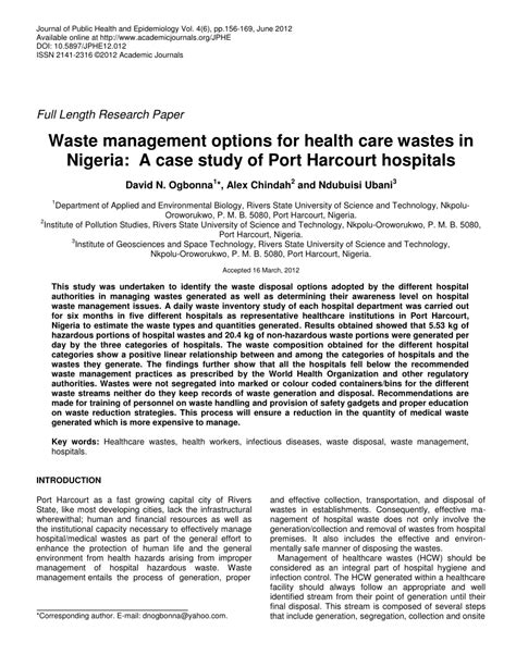 (PDF) Waste Management Options for Healthcare Wastes in