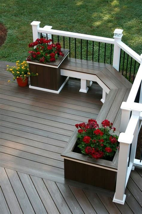 deck with built in bench corner deck bench with built in planters outdoor space pinterest
