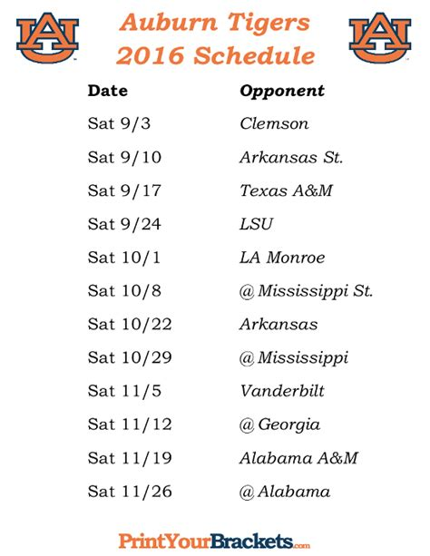 Printable Auburn Football Schedule 2017