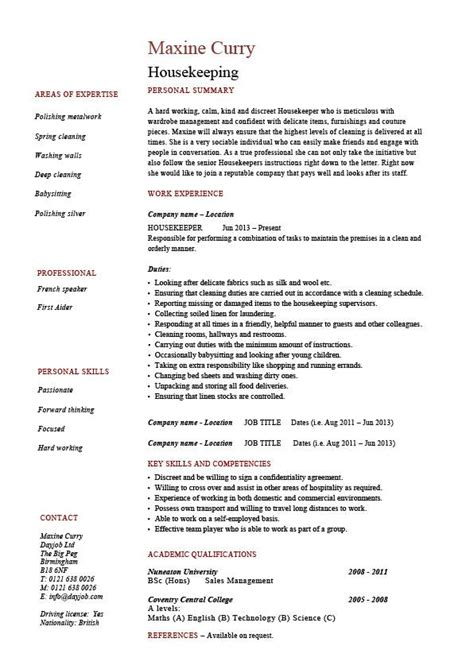 Housekeeping Resume Cleaning Sle Templates Job Description Maintenance Carpets Skills Cleaning Duties Template