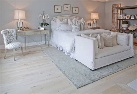 hardwood floor bedroom solid french wire brushed white oak traditional