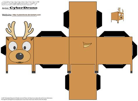 Paper For Papercraft - cubee reindeer by cyberdrone on deviantart