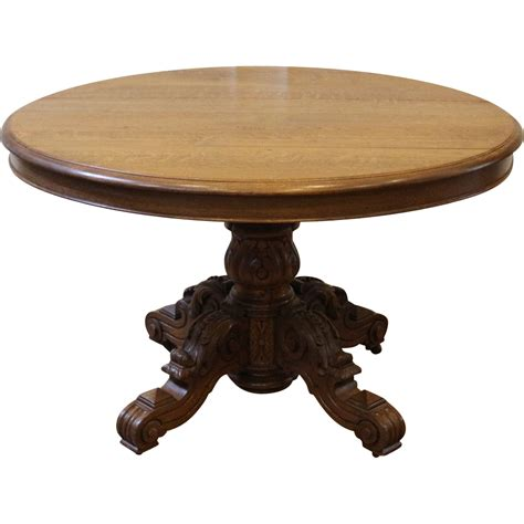 Oak Pedestal Dining Table Antique Carved Oak Pedestal Dining Table Sold On