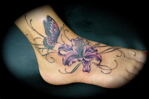 butterfly on flower tattoo designs 100 s of ankle design ideas picture gallery