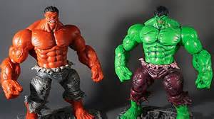 Solid Red Shower Curtain Green Incredible Hulk Amp Red Hulk Marvel Select Action