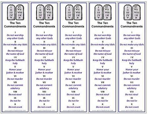 printable bookmarks with names ten commandments bookmarks free printable for kids ten