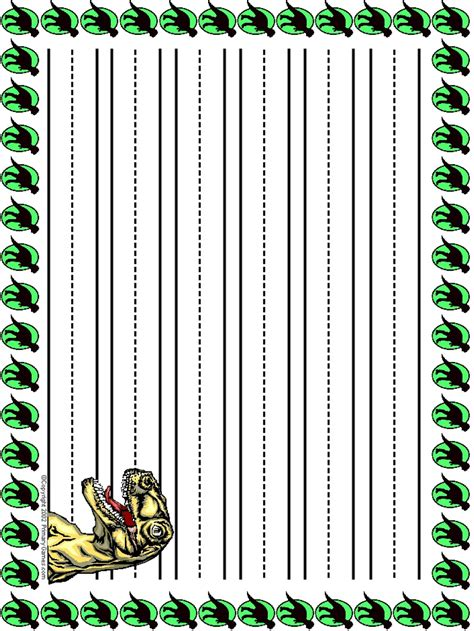 lined paper with dinosaur border pin dinosaur stationary border paper free printable usa on
