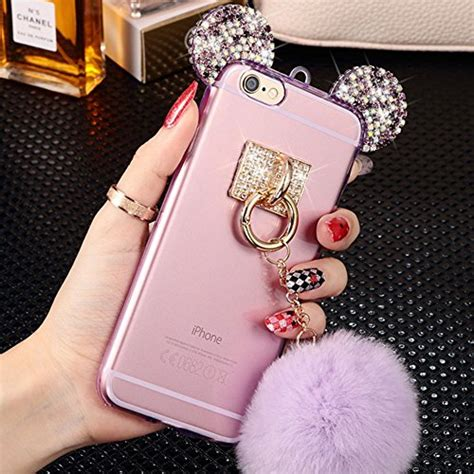 Mickey Bling Back Cover For Iphone 6 Plus 6s Plus iphone 6 plus bling unnfiko mickey mouse ears ears rhinestone ears glitter