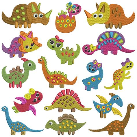 design embroidery machine tiny dinosaurs machine embroidery patterns 16 designs