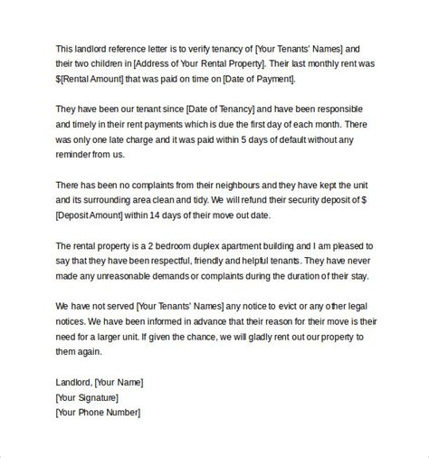 Landlord Reference Letter Request landlord reference letter template 10 sles