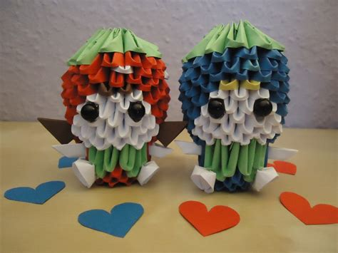 3d Origami Strawberry - 3d origami strawberry and blueberry boy by