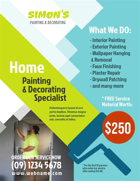painting decorating service flyer template postermywall