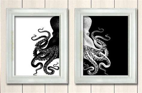 black and white bathroom art black octopus prints black and white nautical print beach