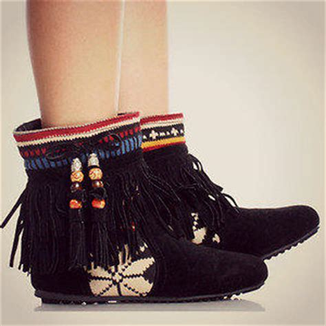 tribal pattern ankle boots tribal fringe ankle boots moccasin indian from