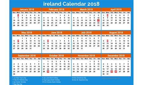 printable calendar ireland ireland calendar 2018 20 newspictures xyz