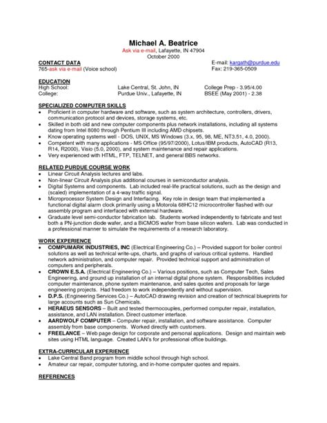 copy and paste resume templates sles of resumes