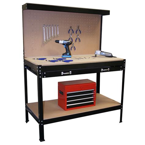 work bench tool box workbench garage shop station work bench tool box pegboard storage steel drawer ebay