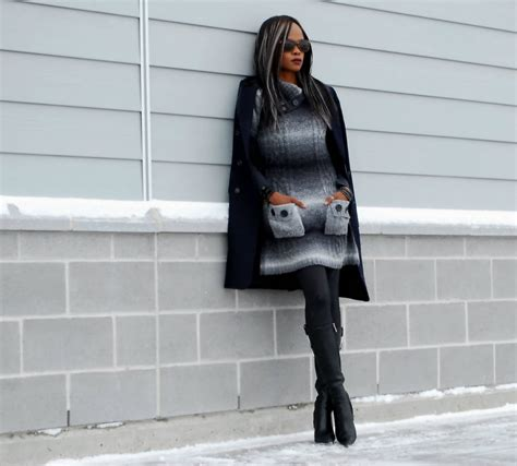 sweater dress leather boots