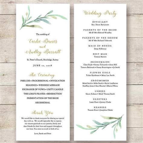 christian wedding order of service template greenery wedding program wed rustic